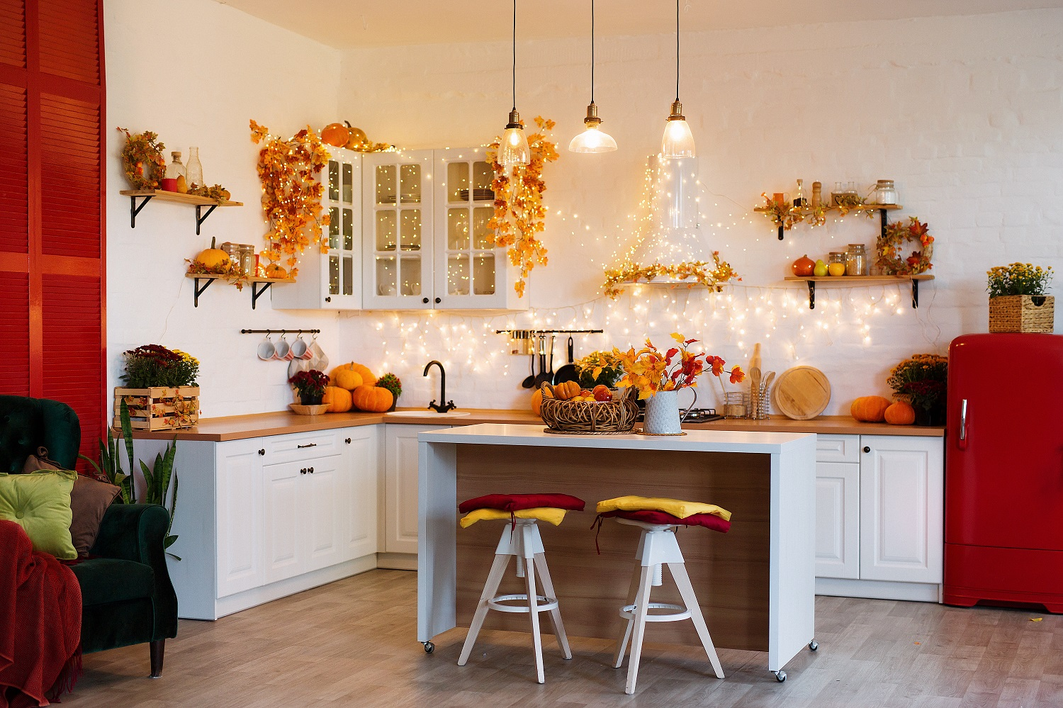 Autumnal kitchen with burnt orange colour scheme