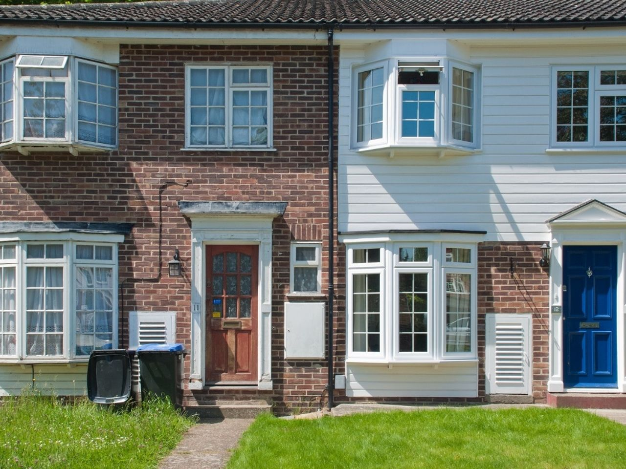 English terraced house exteriors