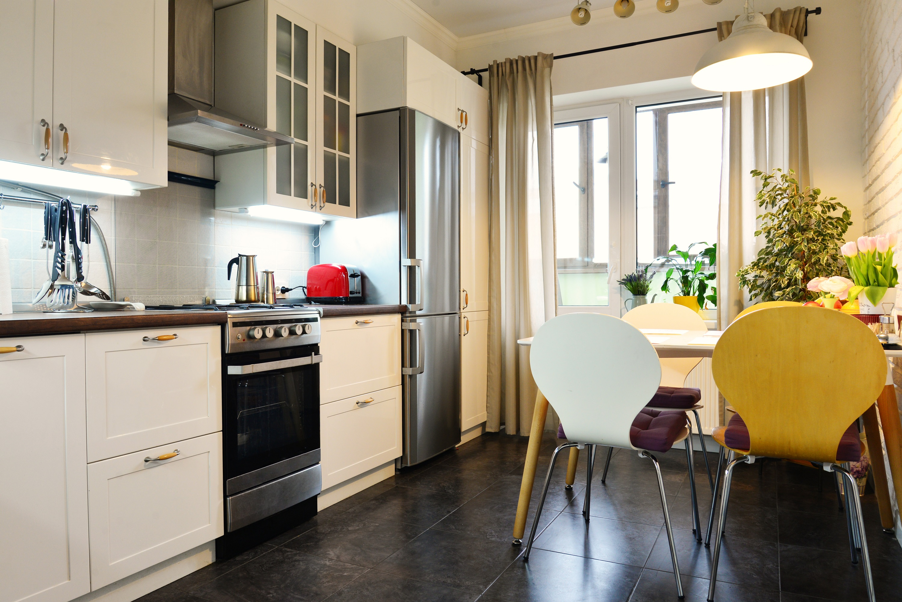 Small Kitchen using natural and artificial light