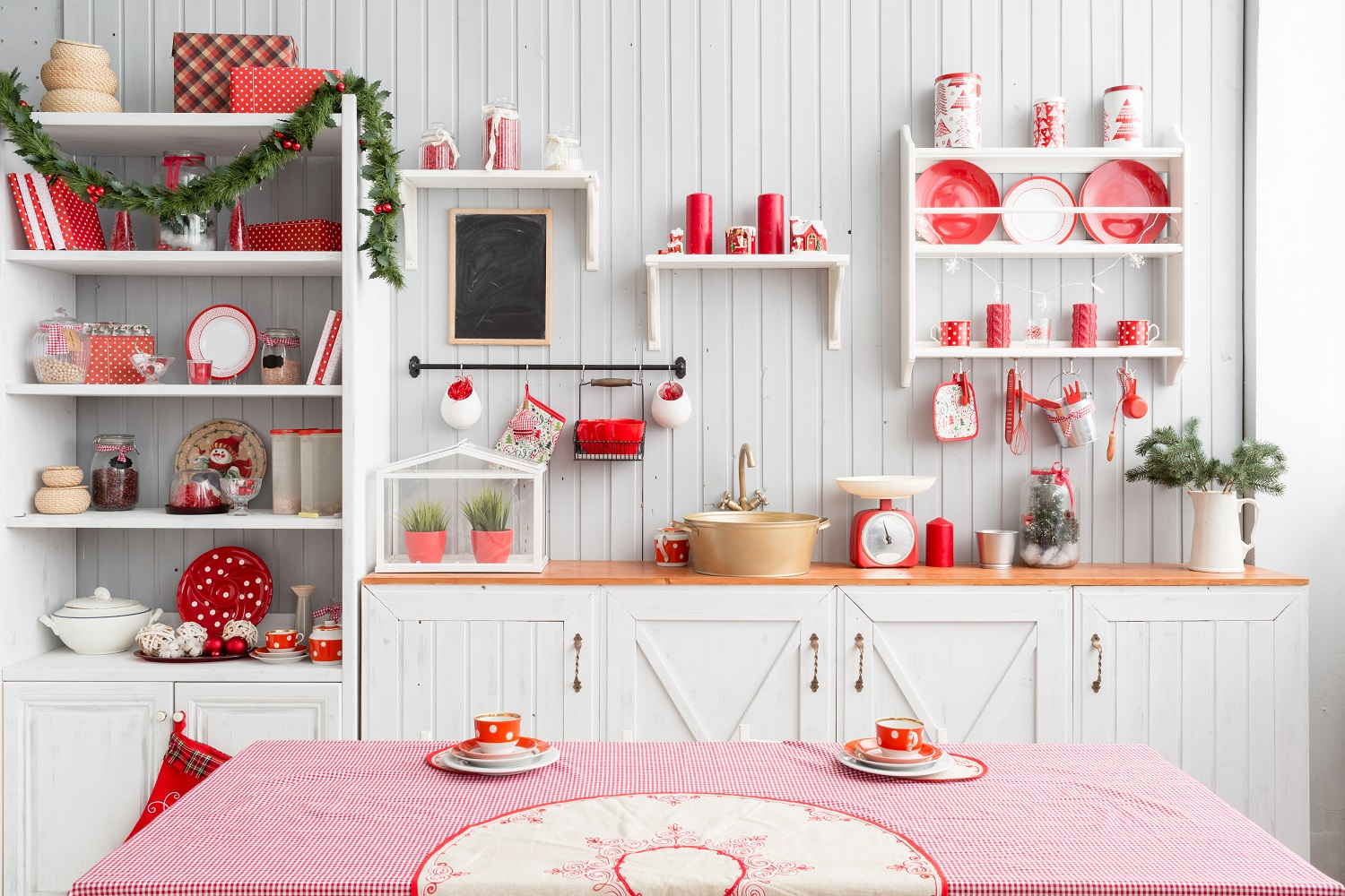 Winter kitchen with Christmas accessories